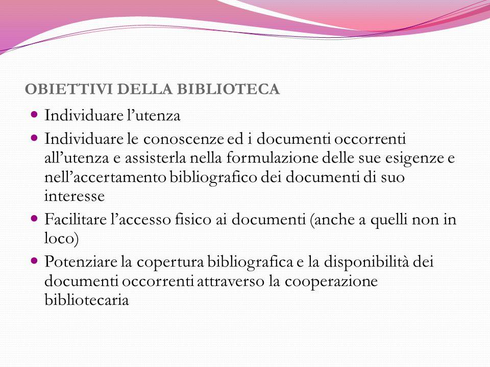 OBIETTIVI DELLA BIBLIOTECA Individuare l'utenza Individuare le conoscenze ed i documenti occorrenti all'utenza e assisterla nella formulazione delle s