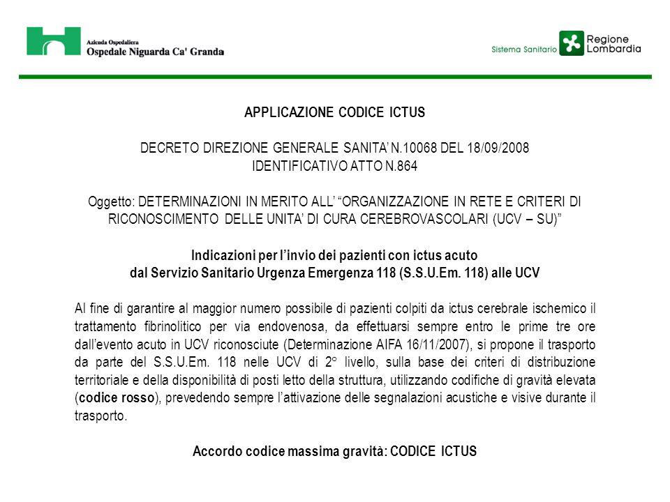 """APPLICAZIONE CODICE ICTUS DECRETO DIREZIONE GENERALE SANITA' N.10068 DEL 18/09/2008 IDENTIFICATIVO ATTO N.864 Oggetto: DETERMINAZIONI IN MERITO ALL' """""""