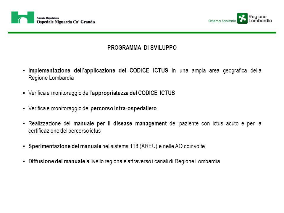 PROGRAMMA DI SVILUPPO  Implementazione dell'applicazione del CODICE ICTUS in una ampia area geografica della Regione Lombardia  Verifica e monitorag