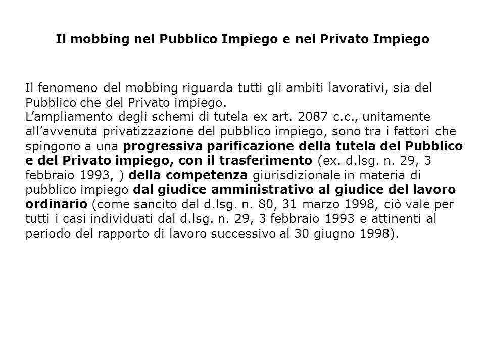 Il mobbing nel Pubblico Impiego e nel Privato Impiego Il fenomeno del mobbing riguarda tutti gli ambiti lavorativi, sia del Pubblico che del Privato i