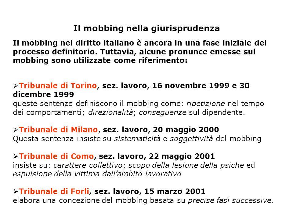 Il mobbing nella giurisprudenza  Tribunale di Torino, sez. lavoro, 16 novembre 1999 e 30 dicembre 1999 queste sentenze definiscono il mobbing come: r
