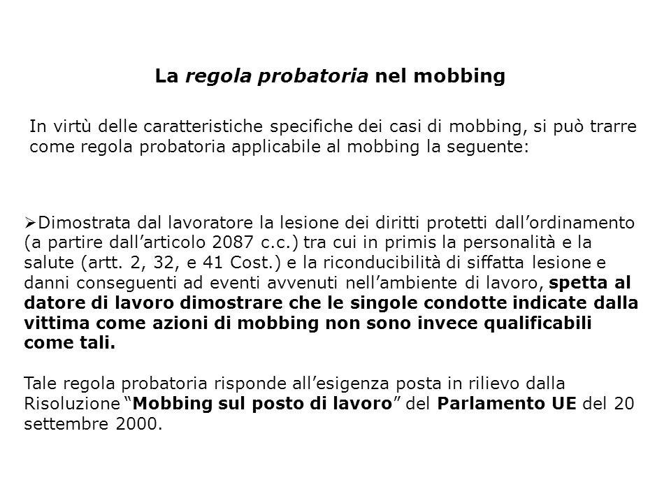 La regola probatoria nel mobbing In virtù delle caratteristiche specifiche dei casi di mobbing, si può trarre come regola probatoria applicabile al mo