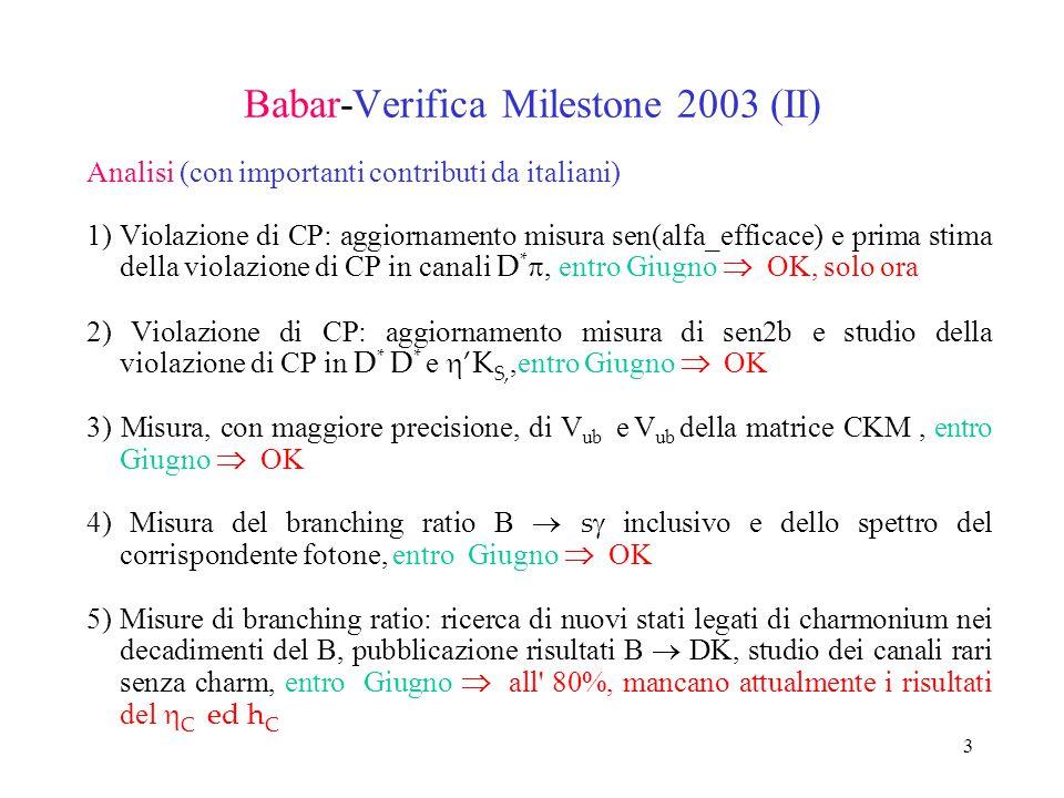 3 Babar-Verifica Milestone 2003 (II) Analisi (con importanti contributi da italiani) 1) Violazione di CP: aggiornamento misura sen(alfa_efficace) e pr