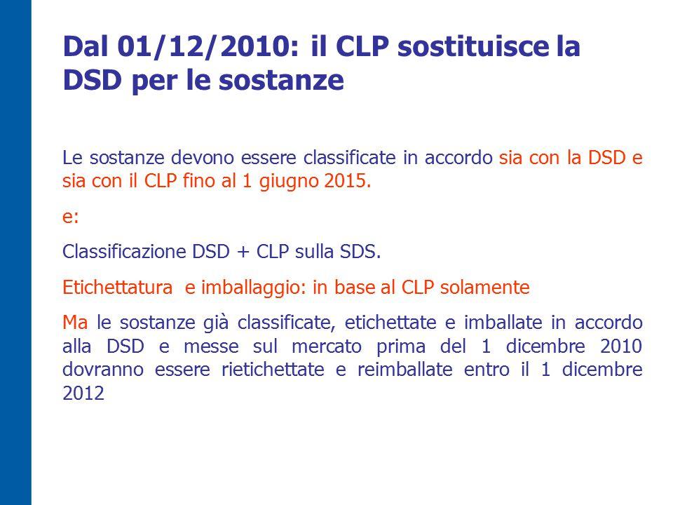 Dal 01/12/2010: il CLP sostituisce la DSD per le sostanze Le sostanze devono essere classificate in accordo sia con la DSD e sia con il CLP fino al 1 giugno 2015.