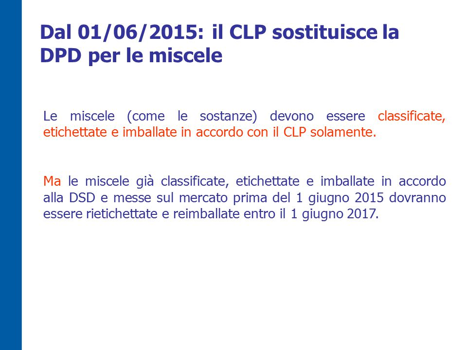 Le miscele (come le sostanze) devono essere classificate, etichettate e imballate in accordo con il CLP solamente.