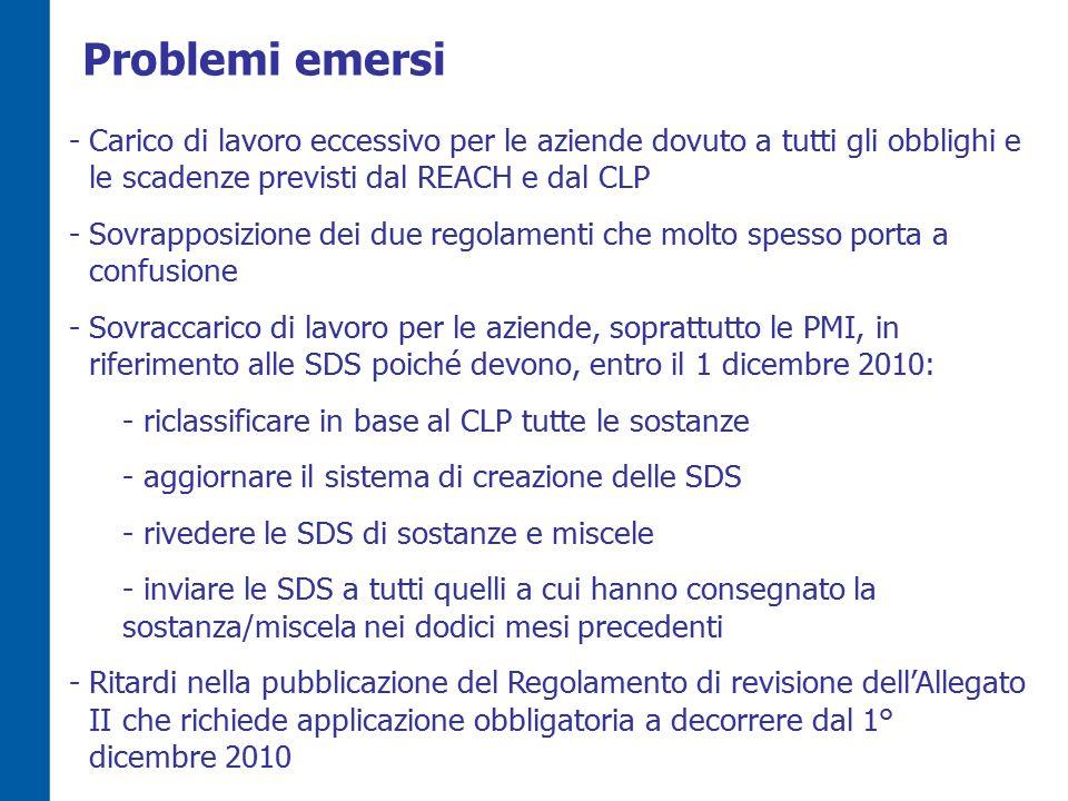 Problemi emersi -Carico di lavoro eccessivo per le aziende dovuto a tutti gli obblighi e le scadenze previsti dal REACH e dal CLP -Sovrapposizione dei due regolamenti che molto spesso porta a confusione -Sovraccarico di lavoro per le aziende, soprattutto le PMI, in riferimento alle SDS poiché devono, entro il 1 dicembre 2010: - riclassificare in base al CLP tutte le sostanze - aggiornare il sistema di creazione delle SDS - rivedere le SDS di sostanze e miscele - inviare le SDS a tutti quelli a cui hanno consegnato la sostanza/miscela nei dodici mesi precedenti -Ritardi nella pubblicazione del Regolamento di revisione dell'Allegato II che richiede applicazione obbligatoria a decorrere dal 1° dicembre 2010