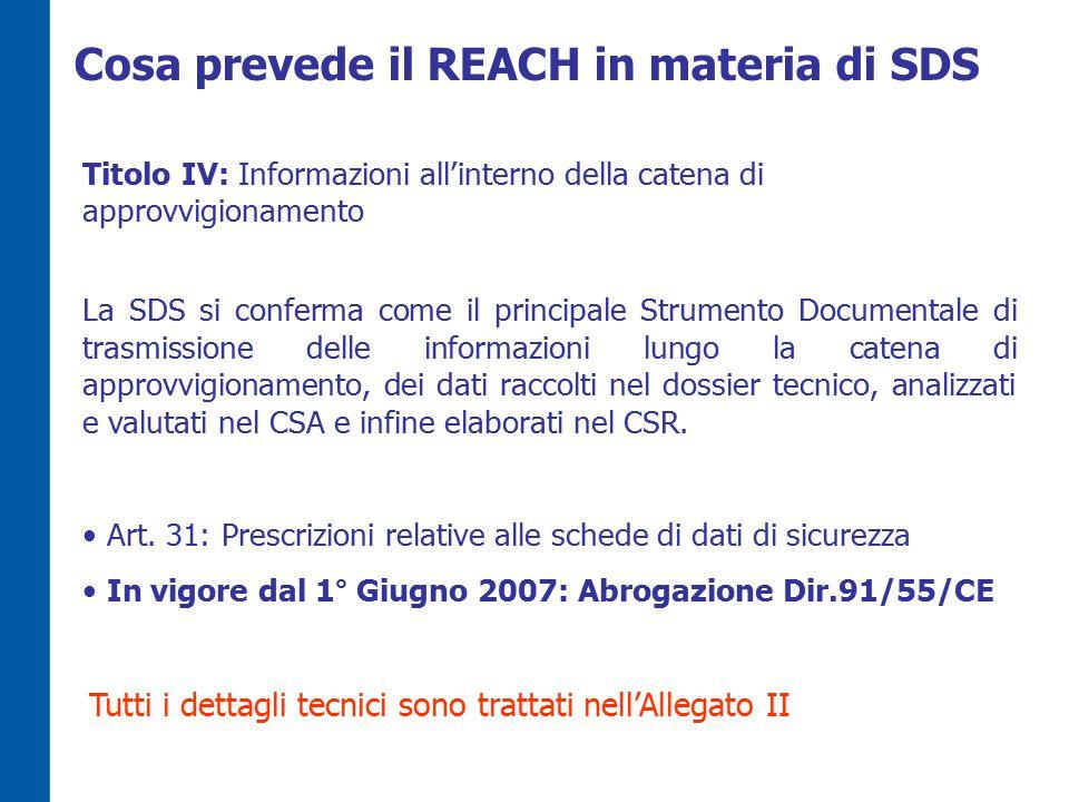 Cosa prevede il REACH in materia di SDS Titolo IV: Informazioni all'interno della catena di approvvigionamento La SDS si conferma come il principale Strumento Documentale di trasmissione delle informazioni lungo la catena di approvvigionamento, dei dati raccolti nel dossier tecnico, analizzati e valutati nel CSA e infine elaborati nel CSR.