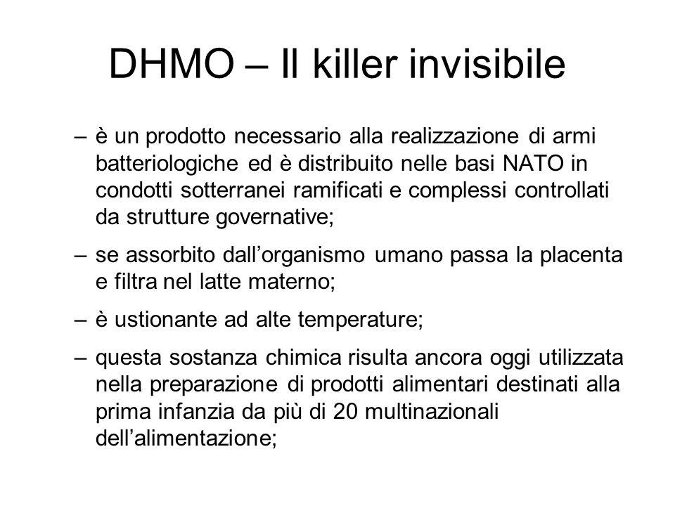 DHMO – Il killer invisibile –è un prodotto necessario alla realizzazione di armi batteriologiche ed è distribuito nelle basi NATO in condotti sotterra