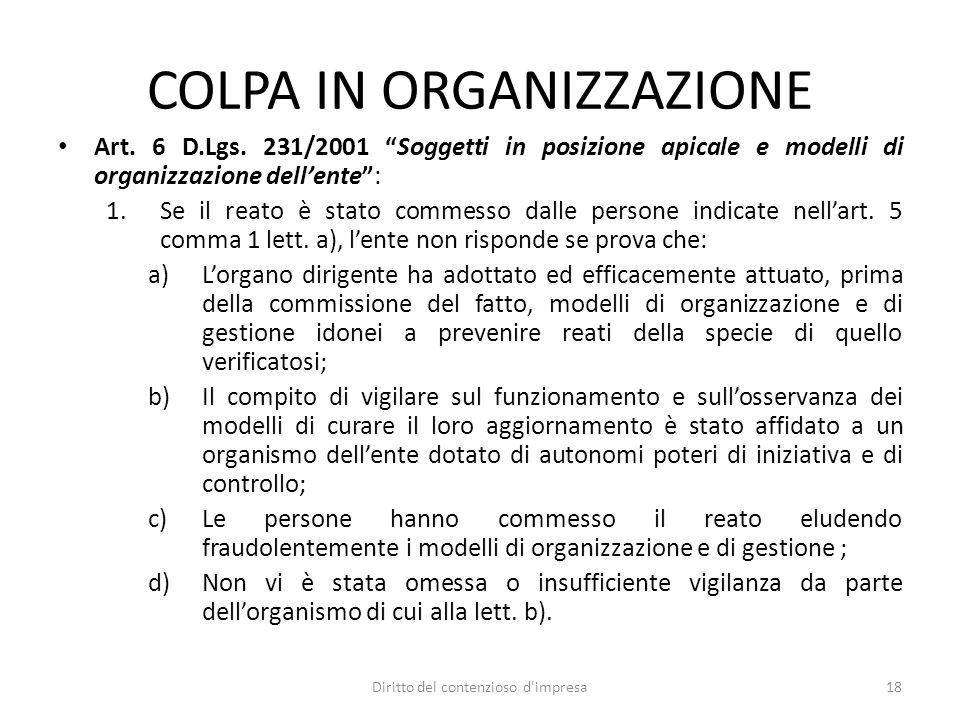 COLPA IN ORGANIZZAZIONE Art. 6 D.Lgs.