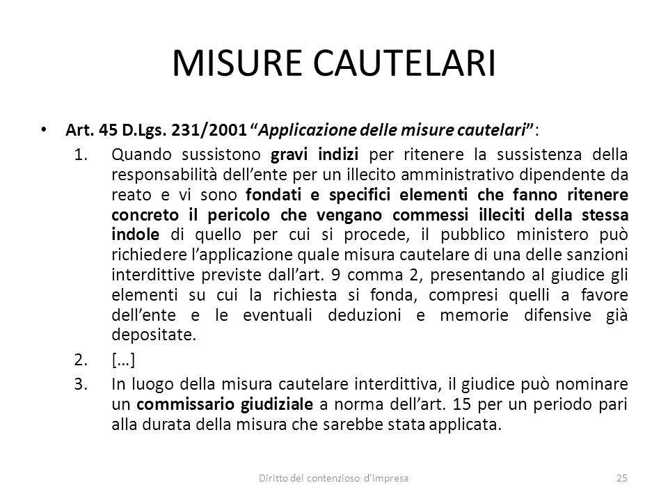 MISURE CAUTELARI Art. 45 D.Lgs.