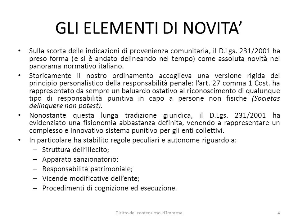 LA NATURA DELLA RESPONSABILITA' La natura della responsabilità ex D.Lgs.