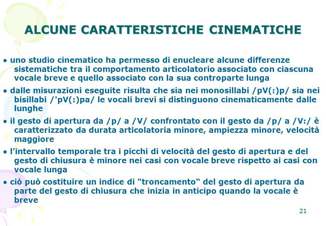 21 ALCUNE CARATTERISTICHE CINEMATICHE ● uno studio cinematico ha permesso di enucleare alcune differenze sistematiche tra il comportamento articolator