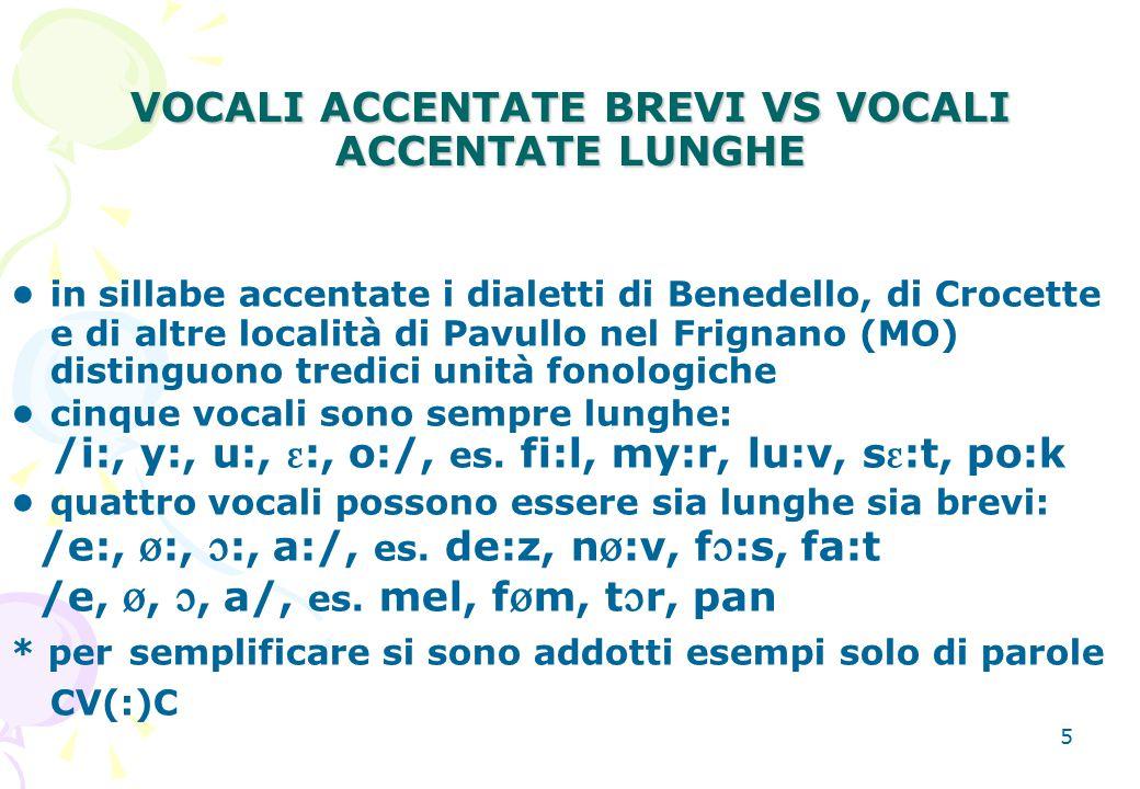 5 VOCALI ACCENTATE BREVI VS VOCALI ACCENTATE LUNGHE in sillabe accentate i dialetti di Benedello, di Crocette e di altre località di Pavullo nel Frign