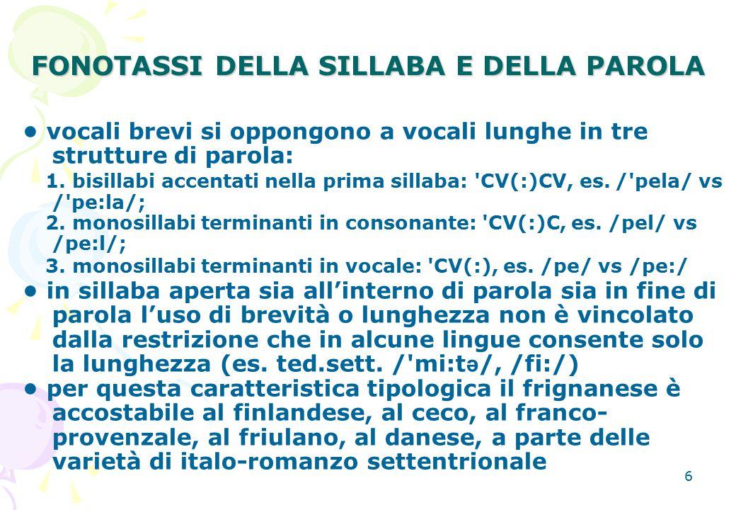 6 FONOTASSI DELLA SILLABA E DELLA PAROLA vocali brevi si oppongono a vocali lunghe in tre strutture di parola: 1. bisillabi accentati nella prima sill