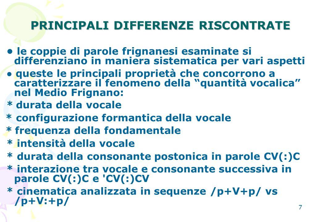 7 PRINCIPALI DIFFERENZE RISCONTRATE le coppie di parole frignanesi esaminate si differenziano in maniera sistematica per vari aspetti ● queste le prin
