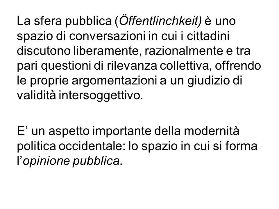 La sfera pubblica (Öffentlinchkeit) è uno spazio di conversazioni in cui i cittadini discutono liberamente, razionalmente e tra pari questioni di rile
