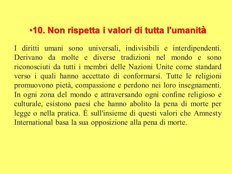 10. Non rispetta i valori di tutta l'umanit à10. Non rispetta i valori di tutta l'umanit à I diritti umani sono universali, indivisibili e interdipend