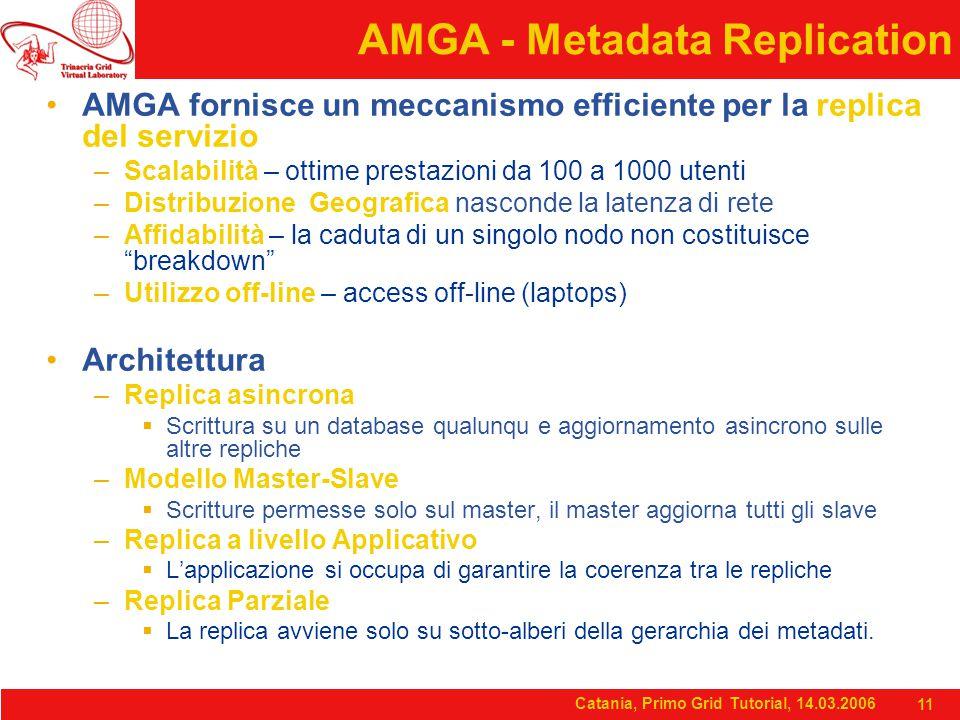 Catania, Primo Grid Tutorial, 14.03.2006 11 AMGA - Metadata Replication AMGA fornisce un meccanismo efficiente per la replica del servizio –Scalabilità – ottime prestazioni da 100 a 1000 utenti –Distribuzione Geografica nasconde la latenza di rete –Affidabilità – la caduta di un singolo nodo non costituisce breakdown –Utilizzo off-line – access off-line (laptops) Architettura –Replica asincrona  Scrittura su un database qualunqu e aggiornamento asincrono sulle altre repliche –Modello Master-Slave  Scritture permesse solo sul master, il master aggiorna tutti gli slave –Replica a livello Applicativo  L'applicazione si occupa di garantire la coerenza tra le repliche –Replica Parziale  La replica avviene solo su sotto-alberi della gerarchia dei metadati.