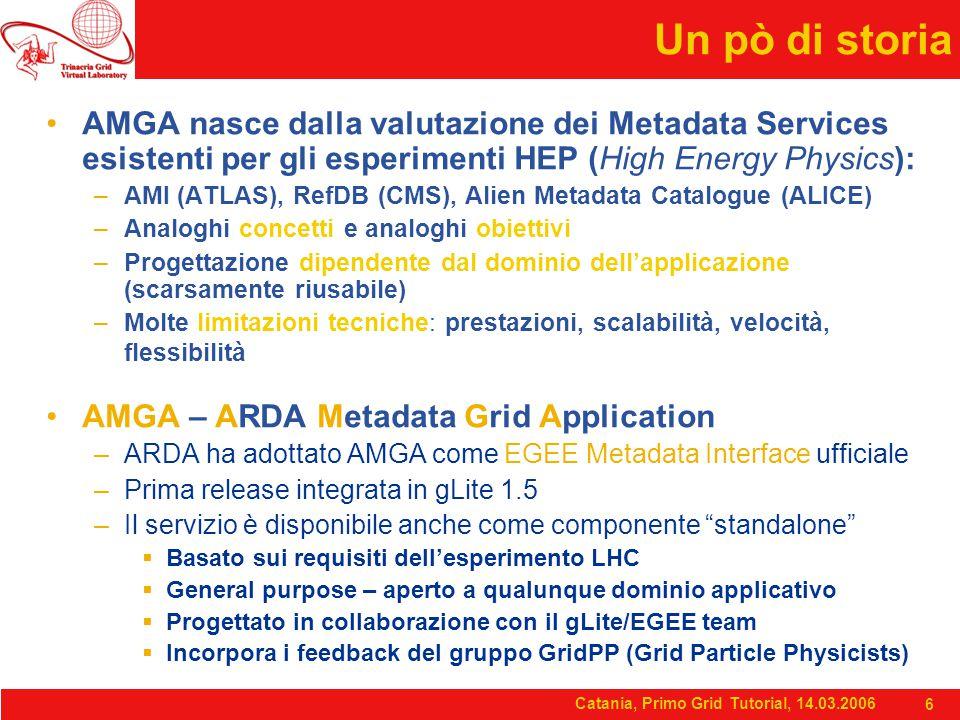 Catania, Primo Grid Tutorial, 14.03.2006 6 Un pò di storia AMGA nasce dalla valutazione dei Metadata Services esistenti per gli esperimenti HEP (High Energy Physics): –AMI (ATLAS), RefDB (CMS), Alien Metadata Catalogue (ALICE) –Analoghi concetti e analoghi obiettivi –Progettazione dipendente dal dominio dell'applicazione (scarsamente riusabile) –Molte limitazioni tecniche: prestazioni, scalabilità, velocità, flessibilità AMGA – ARDA Metadata Grid Application –ARDA ha adottato AMGA come EGEE Metadata Interface ufficiale –Prima release integrata in gLite 1.5 –Il servizio è disponibile anche come componente standalone  Basato sui requisiti dell'esperimento LHC  General purpose – aperto a qualunque dominio applicativo  Progettato in collaborazione con il gLite/EGEE team  Incorpora i feedback del gruppo GridPP (Grid Particle Physicists)