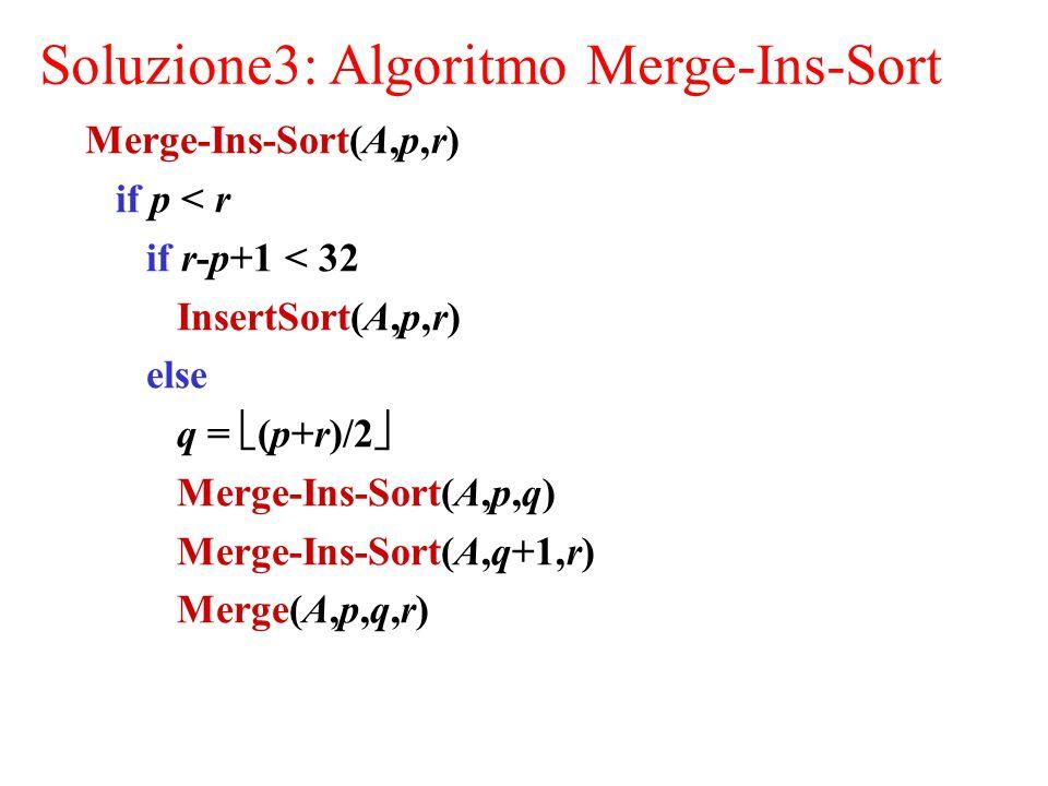 Soluzione3: Algoritmo Merge-Ins-Sort Merge-Ins-Sort(A,p,r) if p < r if r-p+1 < 32 InsertSort(A,p,r) else q =  (p+r)/2  Merge-Ins-Sort(A,p,q) Merge-Ins-Sort(A,q+1,r) Merge(A,p,q,r)
