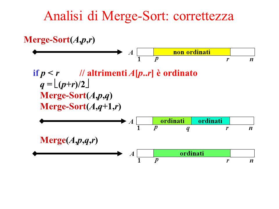 Merge-Sort(A,p,r) if p < r // altrimenti A[p..r] è ordinato q =  (p+r)/2  Merge-Sort(A,p,q) Merge-Sort(A,q+1,r) Merge(A,p,q,r) Analisi di Merge-Sort: correttezza non ordinati 1 p rn A ordinati 1 p rn A 1 p rn q A