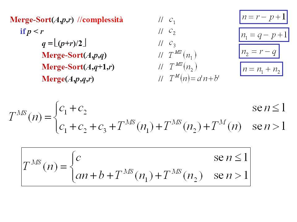Merge-Sort(A,p,r) //complessità// if p < r // q =  (p+r)/2  // Merge-Sort(A,p,q) // Merge-Sort(A,q+1,r)// Merge(A,p,q,r) //