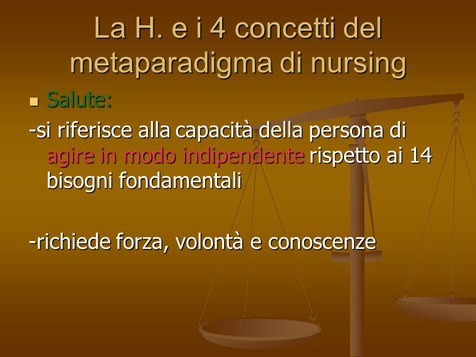 La H. e i 4 concetti del metaparadigma di nursing Salute: Salute: -si riferisce alla capacità della persona di agire in modo indipendente rispetto ai