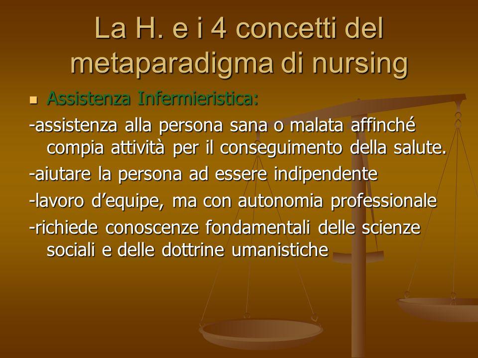 La H. e i 4 concetti del metaparadigma di nursing Assistenza Infermieristica: Assistenza Infermieristica: -assistenza alla persona sana o malata affin