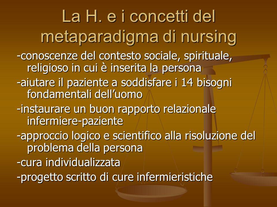 La H. e i concetti del metaparadigma di nursing -conoscenze del contesto sociale, spirituale, religioso in cui è inserita la persona -aiutare il pazie