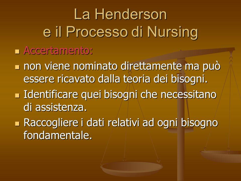 La Henderson e il Processo di Nursing Accertamento: Accertamento: non viene nominato direttamente ma può essere ricavato dalla teoria dei bisogni. non