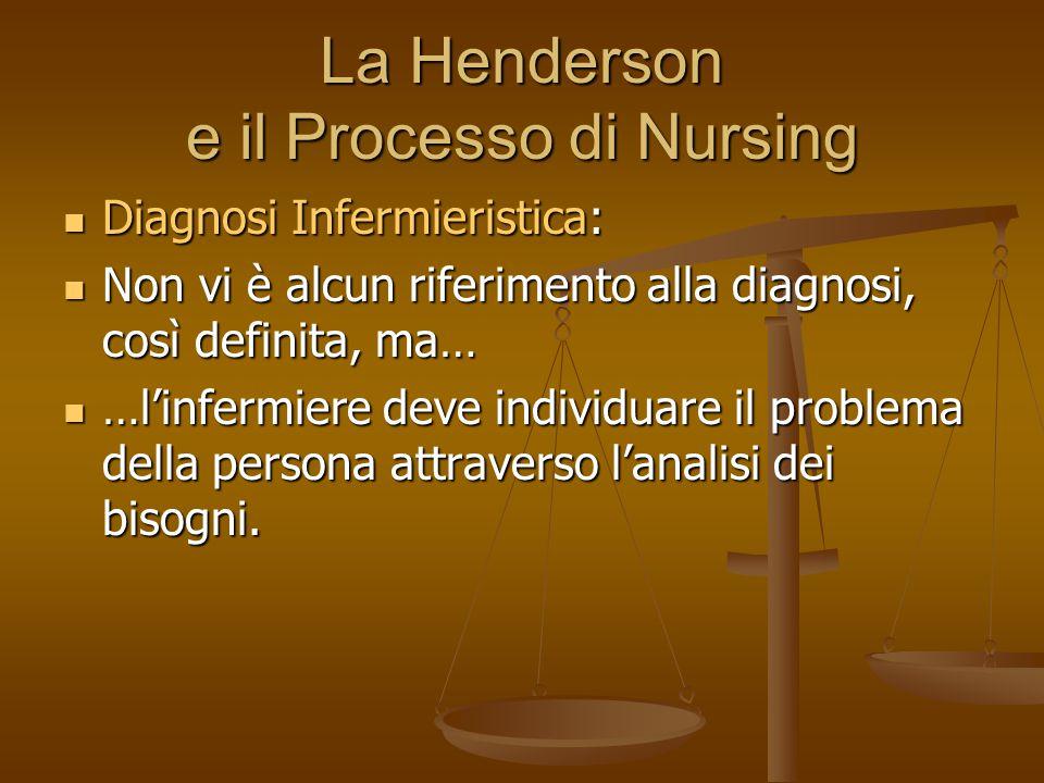 La Henderson e il Processo di Nursing Diagnosi Infermieristica: Diagnosi Infermieristica: Non vi è alcun riferimento alla diagnosi, così definita, ma… Non vi è alcun riferimento alla diagnosi, così definita, ma… …l'infermiere deve individuare il problema della persona attraverso l'analisi dei bisogni.
