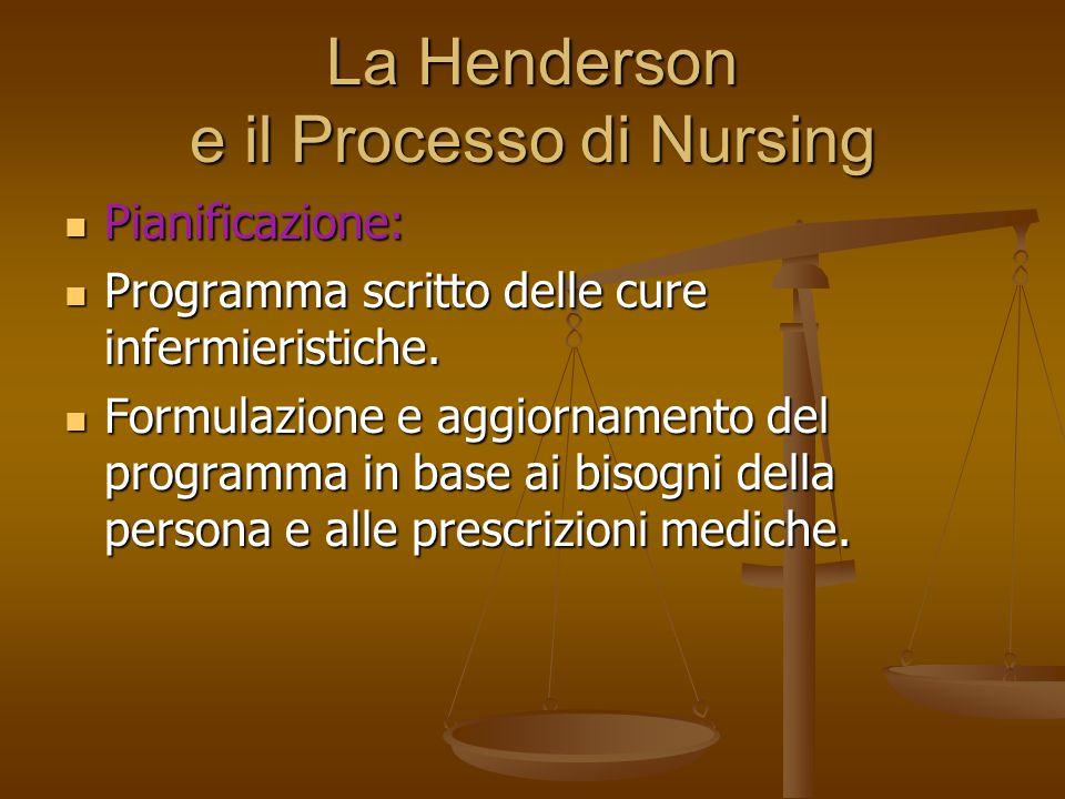 La Henderson e il Processo di Nursing Pianificazione: Pianificazione: Programma scritto delle cure infermieristiche. Programma scritto delle cure infe