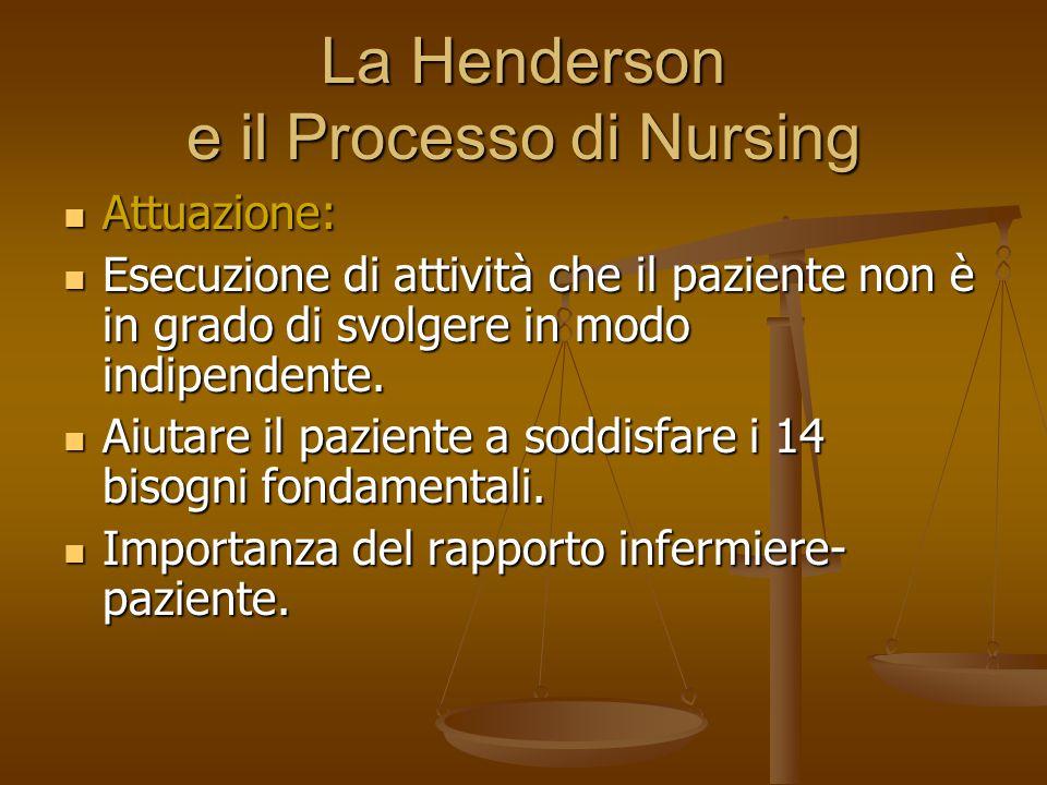 La Henderson e il Processo di Nursing Attuazione: Attuazione: Esecuzione di attività che il paziente non è in grado di svolgere in modo indipendente.