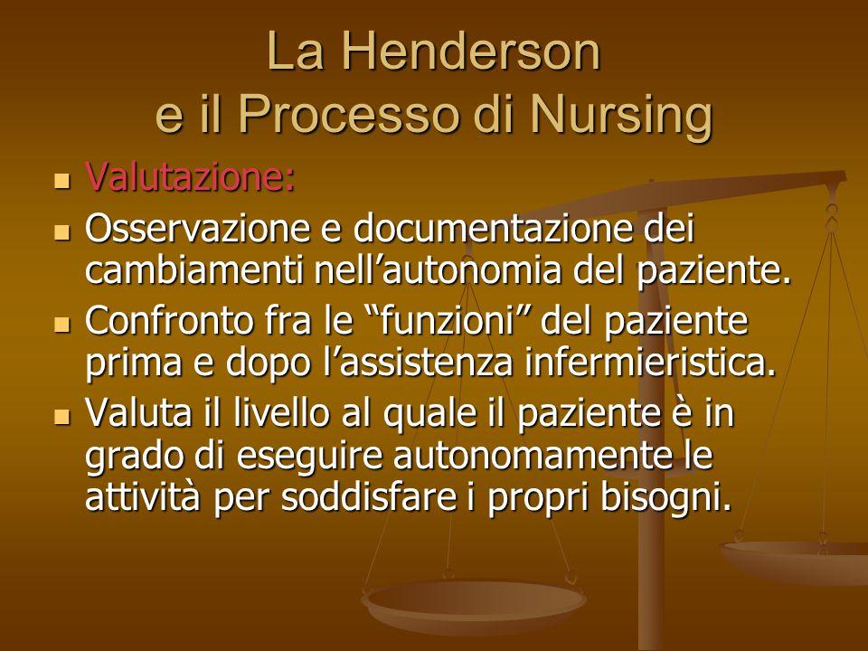 La Henderson e il Processo di Nursing Valutazione: Valutazione: Osservazione e documentazione dei cambiamenti nell'autonomia del paziente. Osservazion