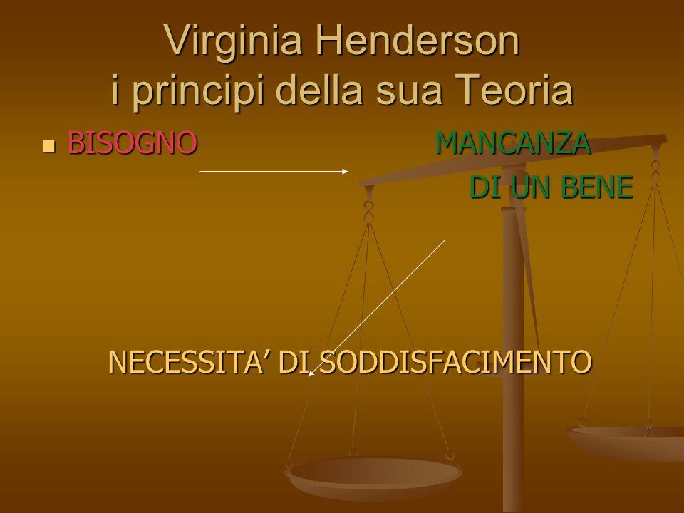 Virginia Henderson i principi della sua Teoria BISOGNO MANCANZA BISOGNO MANCANZA DI UN BENE DI UN BENE NECESSITA' DI SODDISFACIMENTO NECESSITA' DI SOD