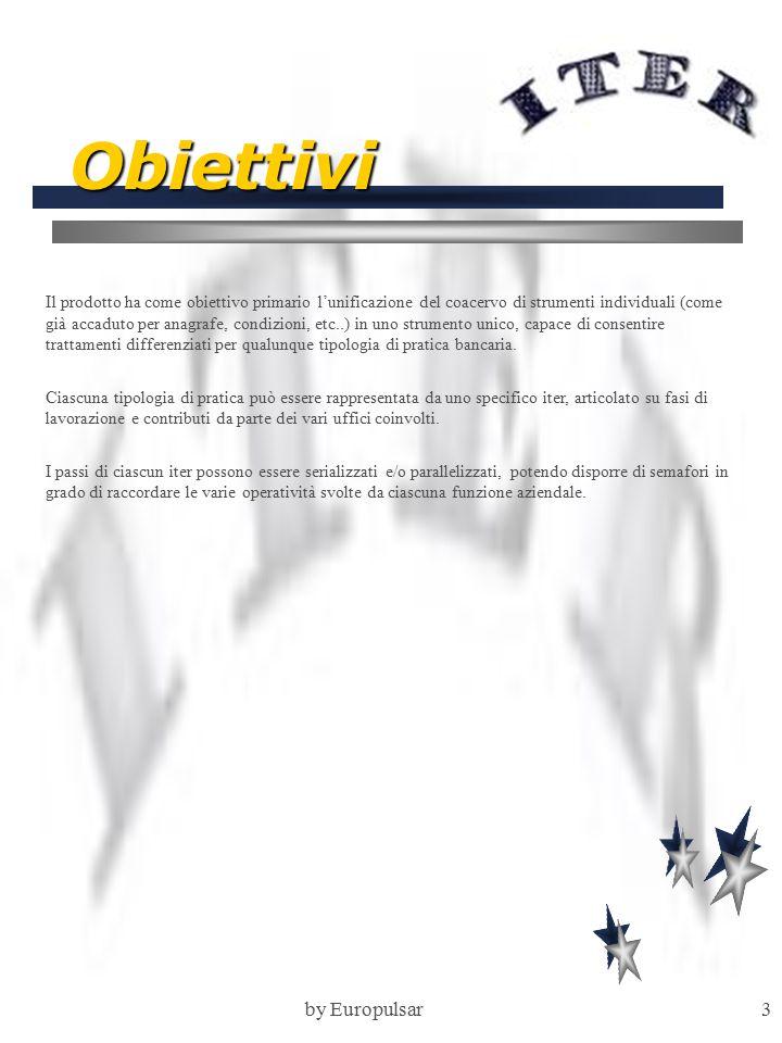 by Europulsar3 Obiettivi Il prodotto ha come obiettivo primario l'unificazione del coacervo di strumenti individuali (come già accaduto per anagrafe, condizioni, etc..) in uno strumento unico, capace di consentire trattamenti differenziati per qualunque tipologia di pratica bancaria.