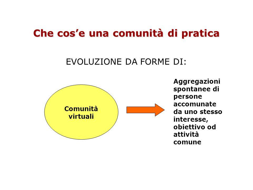 Che cos'e una comunità di pratica EVOLUZIONE DA FORME DI: Comunità virtuali Aggregazioni spontanee di persone accomunate da uno stesso interesse, obiettivo od attività comune
