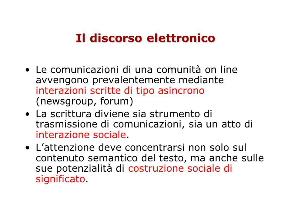 Il discorso elettronico Le comunicazioni di una comunità on line avvengono prevalentemente mediante interazioni scritte di tipo asincrono (newsgroup,
