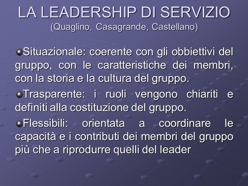 LA LEADERSHIP DI SERVIZIO (Quaglino, Casagrande, Castellano) Situazionale: coerente con gli obbiettivi del gruppo, con le caratteristiche dei membri, con la storia e la cultura del gruppo.
