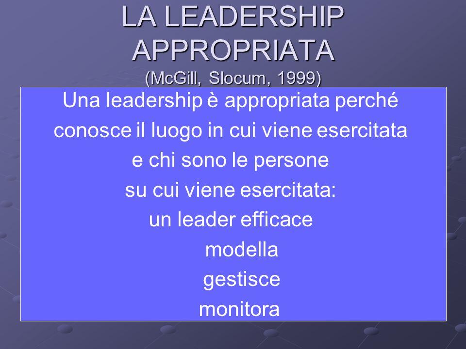 LA LEADERSHIP APPROPRIATA (McGill, Slocum, 1999) Una leadership è appropriata perché conosce il luogo in cui viene esercitata e chi sono le persone su cui viene esercitata: un leader efficace modella gestisce monitora