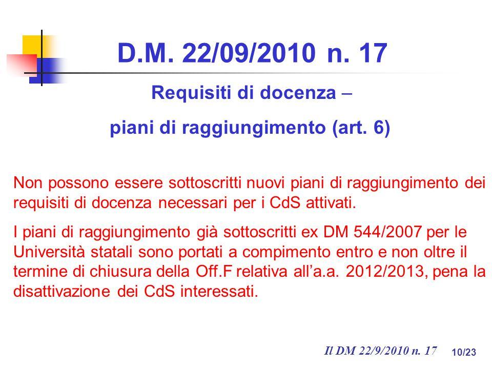Il DM 22/9/2010 n. 17 10/23 D.M. 22/09/2010 n.