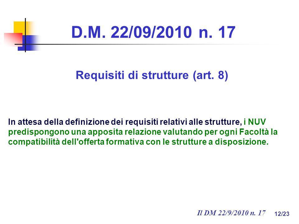 Il DM 22/9/2010 n.17 12/23 D.M. 22/09/2010 n. 17 Requisiti di strutture (art.