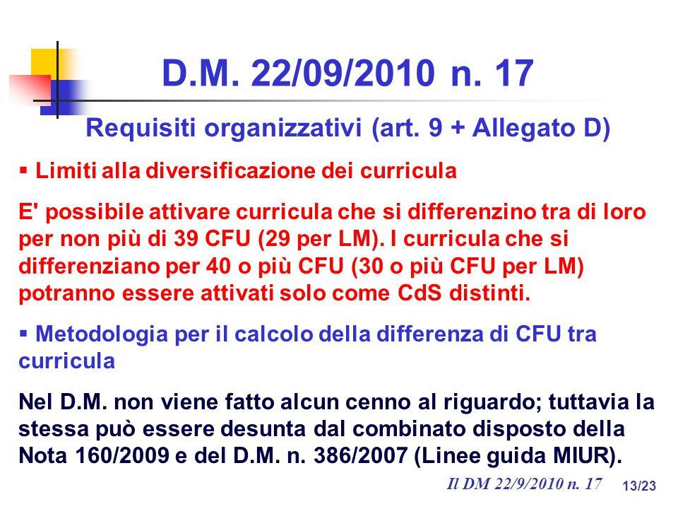 Il DM 22/9/2010 n. 17 13/23 D.M. 22/09/2010 n. 17 Requisiti organizzativi (art.
