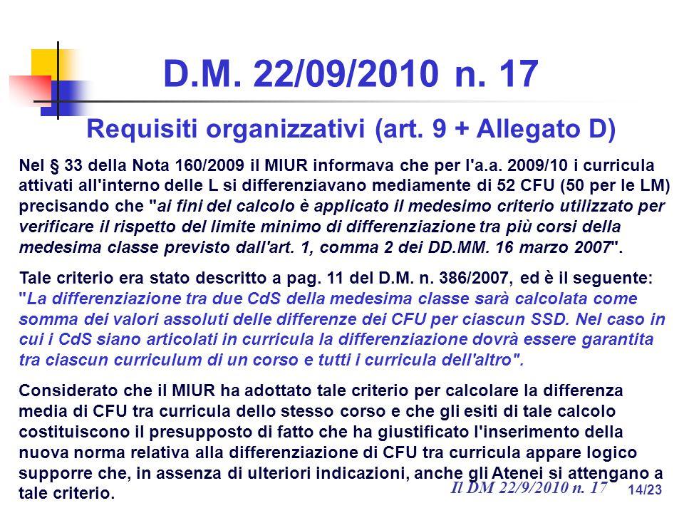 Il DM 22/9/2010 n. 17 14/23 D.M. 22/09/2010 n. 17 Requisiti organizzativi (art.