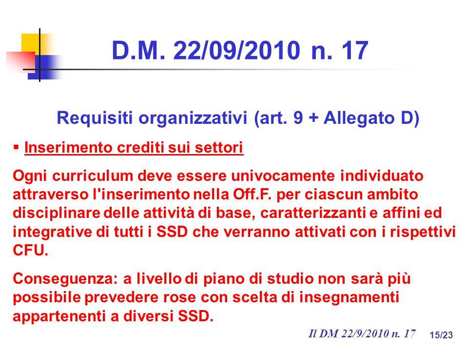 Il DM 22/9/2010 n. 17 15/23 D.M. 22/09/2010 n. 17 Requisiti organizzativi (art.
