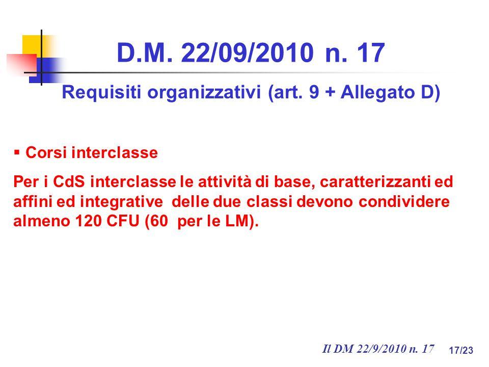 Il DM 22/9/2010 n. 17 17/23 D.M. 22/09/2010 n. 17 Requisiti organizzativi (art.