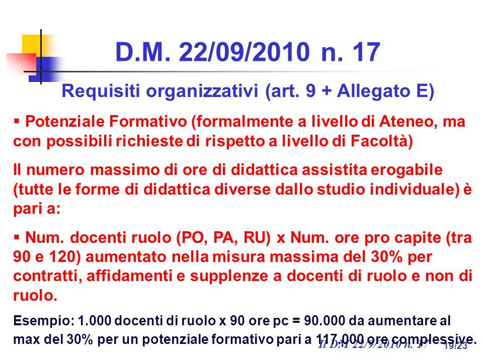 Il DM 22/9/2010 n. 17 19/23 D.M. 22/09/2010 n. 17 Requisiti organizzativi (art.