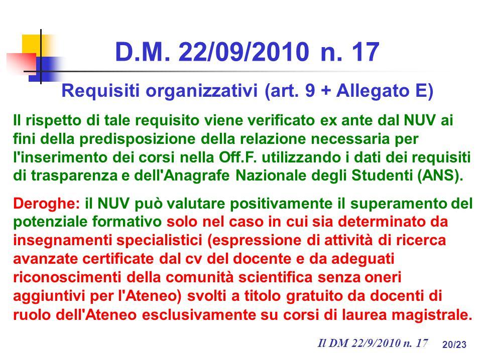 Il DM 22/9/2010 n. 17 20/23 D.M. 22/09/2010 n. 17 Requisiti organizzativi (art.
