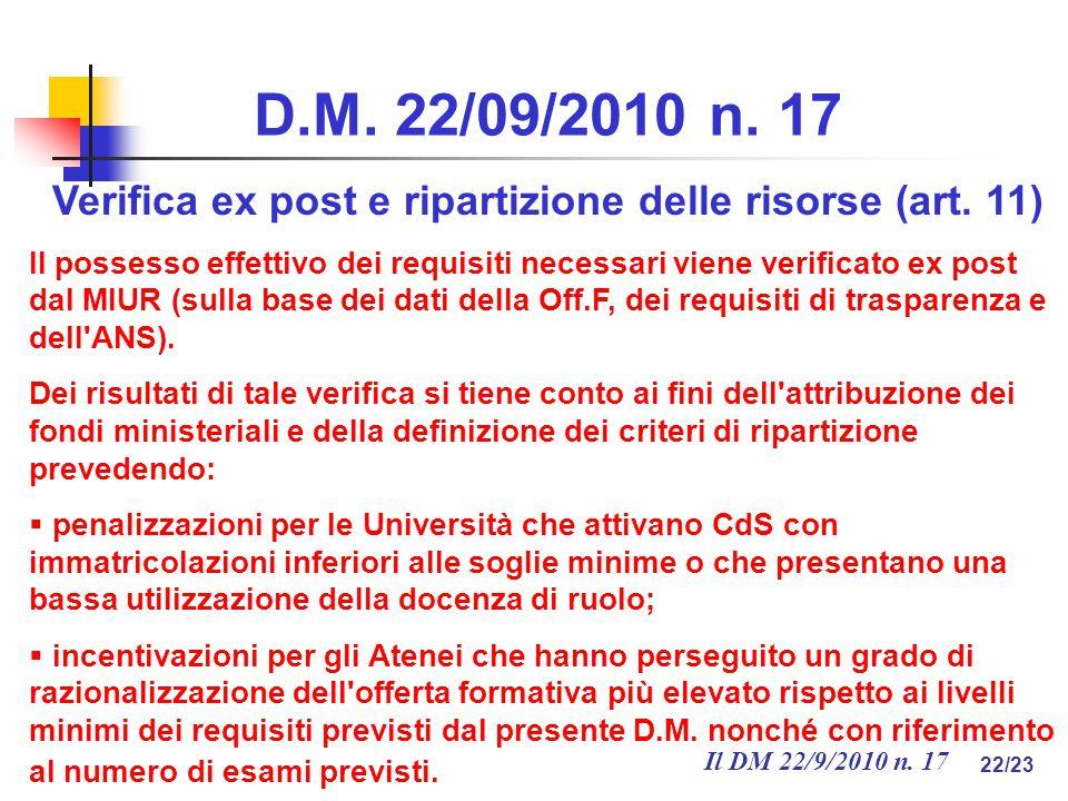 Il DM 22/9/2010 n. 17 22/23 D.M. 22/09/2010 n.