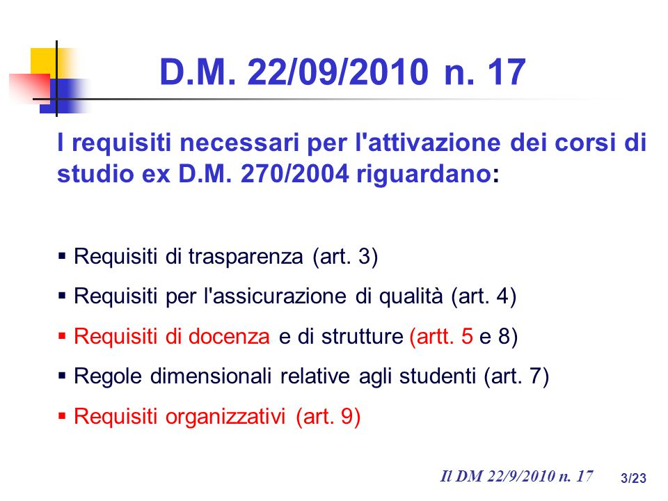 Il DM 22/9/2010 n. 17 3/23 D.M. 22/09/2010 n.